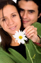 Cute couple with a flower Royalty Free Stock Photo