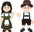 Cute Couple German waving in National Clothes
