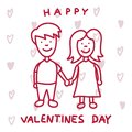 Cute couple in love. Happy Valentines Day greeting card.