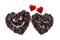 Cute couple in love isolated with clipping paths on white backg coffee beans heart shape romantic and valentine concept Royalty Free Stock Image