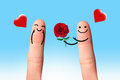 Cute couple in love with smiley giving a rose with blue sky happy valentine concept Stock Image