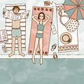 Cute couple lying at the swimming pool hand drawn illustration of a top view Stock Photo