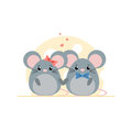 Cute couple of mouse on cheese background.