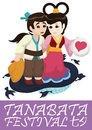 Cute Couple Poster for Tanabata Festival, Vector Illustration Royalty Free Stock Photo