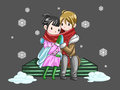 Cute couple sharing their warmth in romantic winte by hands winter night create by vector Royalty Free Stock Image