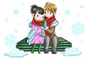 Cute couple sharing their warmth in white snowy ba by hands background create by vector Stock Photos