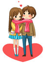 Cute couple sharing their warmth in winter vector Royalty Free Stock Photo