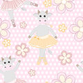 Cute cow ballet dancer seamless pattern Royalty Free Stock Image