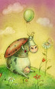 Cute cow with balloon.Children illustration. Cartoon childish background in vintage colors.