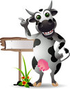 Cute cow cartoon with blank board Royalty Free Stock Photo