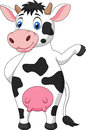 Cute cow cartoon waving hand illustration of Royalty Free Stock Images