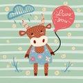 Cute cow character. Balloon, cloud, flower.