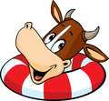 Cute cow swim in inflatable ring - vector cartoon Royalty Free Stock Photo