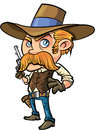Cute cowboy cartoon with mustache isolated Royalty Free Stock Images