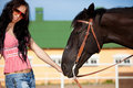 Cute cowgirl on ranch Royalty Free Stock Photos