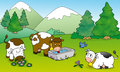 Cute cows, illustration for kids Royalty Free Stock Photo