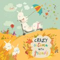 Cute crazy rabbits playing in autumn fall season
