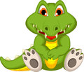 Cute crocodile cartoon sitting