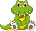 Cute crocodile cartoon sitting