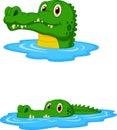 Cute crocodile cartoon swimming