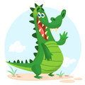 Cute crocodile or dinosaur waving cartoon. Vector character illustration for children book.