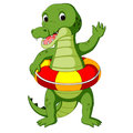 Cute crocodile using ring ball cartoon