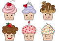 Cute cupcake faces Royalty Free Stock Photos