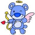 Cute cupid bear cartoon vector