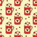 Cute cups with deer, candy cane, hearts seamless pattern.
