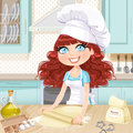 Cute curly hair girl baking cookies on kitchen Royalty Free Stock Photos