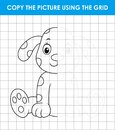 Cute dalmatian dog sitting. Grid copy game, complete the picture educational children game