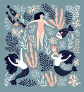 Cute decorative background with mermaids and swimming girl in the sea. Hand drawn vector illustration.