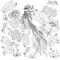 Cute decorative bird vector illustration Royalty Free Stock Photo