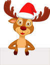 Cute deer cartoon with blank sign illustration of Stock Photography