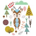 Deer in Scandinavian style- vector illustration, eps