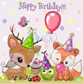 Cute Deer and Fox owls with balloon and bonnets