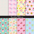 Cute Dessert Seamless Pattern Set