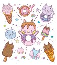 Cute desserts and icecreams cartoons