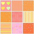 Cute different  seamless patterns. Pink and white. Endless texture can be used for sweet romantic wallpaper, pattern fill, w Royalty Free Stock Photo