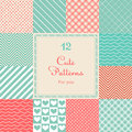12 Cute different vector seamless patterns (tiling Royalty Free Stock Photo