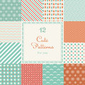 12 Cute different vector seamless patterns (tiling). Royalty Free Stock Photo