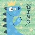 Cute dino characters. Princess illustration.