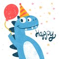 Cute dino, dinosaur illustration for print t-shirt. Hand drawn style. Happy birthday. Royalty Free Stock Photo