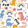 Cute dino hand drawn seamless pattern childish drawing colorful background