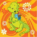 Cute dino with school bag