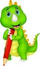 Cute dinosaur cartoon holding red pencil Royalty Free Stock Photo