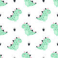 Cute dinosaur with crowns seamless pattern on white background.