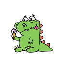 Cute dinosaur keeps ice cream. vector illustration