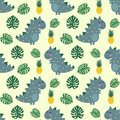 Cute dinosaur with pineapple and palm leaves seamless pattern.