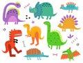 Cute Dinosaurs characters vector set Royalty Free Stock Photo